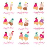 Födelsedagkortuppsättning Festliga sötsaknummer från 41 till 49 Coctail sugrör Roliga dekorativa tecken vektor Arkivbilder