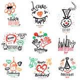 Födelsedaglogo och illustrationer Arkivfoto