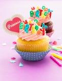 Födelsedagmuffin Fotografering för Bildbyråer