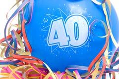 födelsedagnummer för 40 ballong Fotografering för Bildbyråer