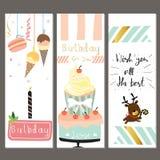 Födelsedagsamling för hälsningkort med kakan, glass och beträffande Royaltyfri Foto