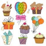födelsedagsamlingsobjekt vektor illustrationer