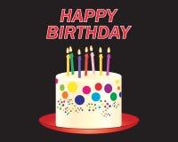 Födelsedagstearinljus på en färgrik kaka med den röda plattan stock illustrationer