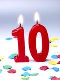 Födelsedagstearinljus som visar Nr. 10 Royaltyfri Foto