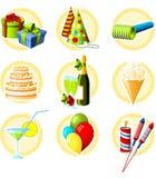 födelsedagsymbolsset stock illustrationer