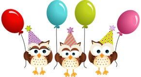 Födelsedagugglor med ballonger stock illustrationer