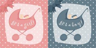 Födelsemeddelandekort för pojkar och flickor Arkivfoton