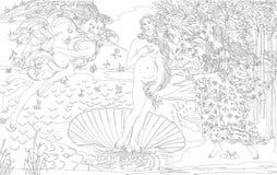 Födelsen av Venus 1483-1485 vid Sandro Botticelli den vuxna färgläggningsidan Royaltyfri Fotografi