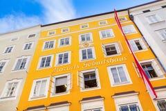 Födelseort av den berömda kompositören Wolfgang Amadeus Mozart i Salzburg, Österrike Arkivbild