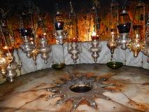 FÖDELSEORT AV JESUS AV NAZARETH, KYRKA AV KRISTI FÖDELSEN, BETLEHEM Royaltyfria Bilder