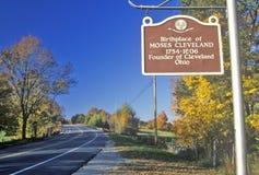 Födelseort av Moses Cleveland längs scenisk nord för rutt 109 av Canterbury, Connecticut Arkivbild