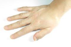 Föga tilldragande hand på vit bakgrund arkivfoto