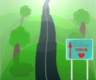 följ din hjärta några begreppsmässiga miljögröna växande pengar för investeringar för tillväxtillustrationinvestering som förestä royaltyfri illustrationer