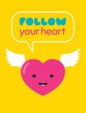 Följ din hjärtaklistermärke Royaltyfri Bild