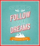 Följ din typografiska design för drömmar. Royaltyfri Bild