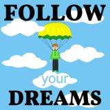 Följ ditt drömkort mannen hoppa fallskärm royaltyfri illustrationer