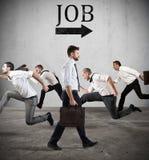 Följ jobbpilen Skräck av jobbet Arkivbilder
