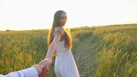 Följ mig Lyckliga par som rymmer händer, utomhus kör på guld- vetefält och har gyckel, par som går på äng lager videofilmer