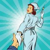 Följ mig, medicin för sjuksköterskainjektionvaccin stock illustrationer