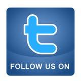Följ oss på beståndsdel för vektor för bokstav t för Twitter logosymbol på vit bakgrund vektor illustrationer