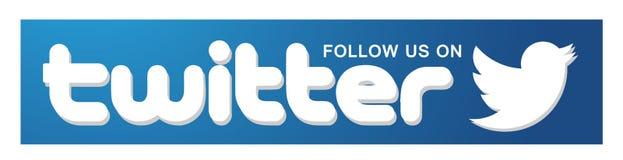 Följ oss på beståndsdel för vektor för fågel för Twitter logosymbol på vit bakgrund royaltyfri illustrationer