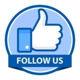 Följ oss på facebookemblem vektor illustrationer