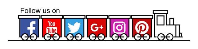 Följ oss på facebookkvittrande stock illustrationer