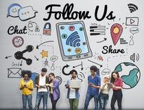 Följ som oss, sammanfogar anhängaren oss det sociala massmediabegreppet Fotografering för Bildbyråer