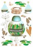 Följe av produkter för inlagda gurkor Fotografering för Bildbyråer