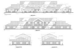 följen för kontor för byggnadsteckningshöjder royaltyfria bilder