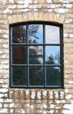 Fönster av ett gammalt skjul Fotografering för Bildbyråer