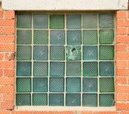 Fönster av glass tegelstenar Arkivfoto