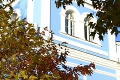 Fönster detalj, höst, blå fasad royaltyfri foto