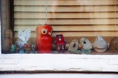Fönster för Ð-¡ hristmas med garnering Arkivfoto