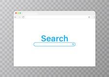 fönster för blå webbläsare för bakgrund genomskinligt Rengöringsdukwebbläsare i plan stil Webbläsare för internet för fönsterbegr vektor illustrationer
