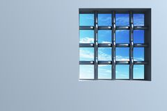fönster för fängelse s Arkivfoto