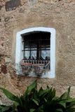 Fönster för gammalt land med järnstänger Arkivbild