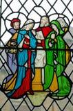 Fönster för Jesus Christ familjmålat glass Royaltyfri Fotografi