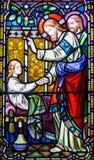 Fönster för Jesus Kristusmålat glass Fotografering för Bildbyråer