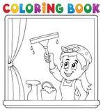 Fönster för lokalvård för kvinna för färgläggningbok royaltyfri illustrationer