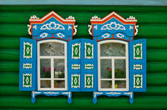 fönster för ryss för landshus royaltyfria foton