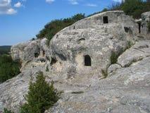 fönster för sikt för grottastadsboningar Arkivbilder