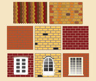 fönster för tegelstenvektorvägg Arkivfoto
