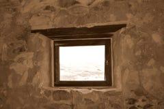 Fönster Fördärvar av Rupea Reps fästningen, Transylvania, Rumänien Royaltyfri Foto