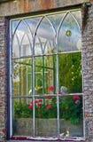 Fönster Huntington slott, Co Carlow Irland Arkivbilder