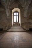 Fönster i den Corvin slotten, Rumänien Royaltyfria Bilder