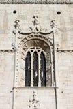 Fönster i den Jeronimos kloster Arkivbild