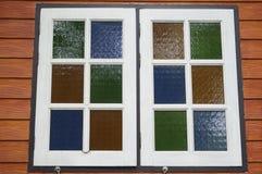 Fönster i färgrikt Fotografering för Bildbyråer