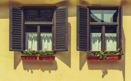Fönster med öppna slutare och blommor Arkivfoton
