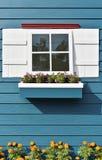 Fönster med blommaasken Arkivbild